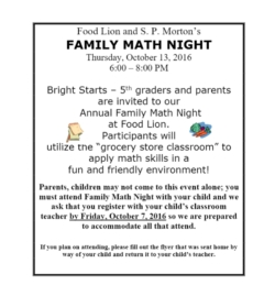 Join Spm At Food Lion For Family Math Night Tonight October 13 From